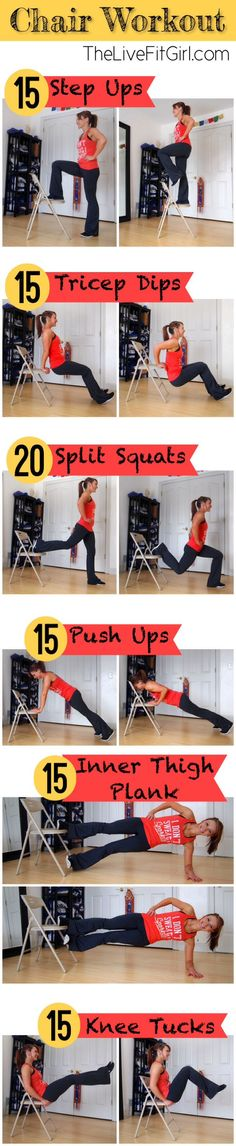Get a great full body workout without any fancy equipment! Try this full body chair workout to burn calories and tone up! Fitness Tips, Fitness Motivation, Health Fitness, Easy Fitness, Toning Workouts, At Home Workouts, Quick Workouts, Mini Workouts, Pinterest Workout