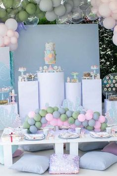 Take a look at this gorgeous under the sea birthday party! What a pretty dessert table!  See more party ideas and share yours at CatchMyParty.com  #catchmyparty #partyideas #donutparty #donuts #undertheseaparty #mermaids #mermaidparty #girlbirthdayparty Mermaid Birthday, Girl Birthday, Birthday Parties, Sea Cakes, Mermaid Cakes, Donut Party, Mermaid Parties, Under The Sea Party, Dessert Table