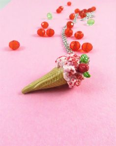 Chunky Strawberry shortcake Ice cream cone Perfect Summer Accessory for girls Pink dessert Necklace miniature icecream charm pendant present by CraftyPinkPanda on Etsy