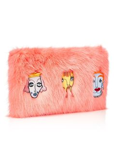 Pink Faux Fur Damsel Clutch | Shrimps | Avenue32
