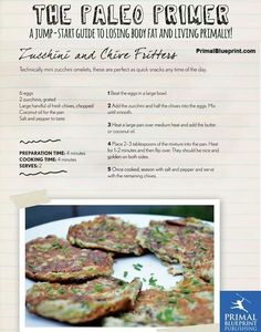 The Primal Blueprint- Zucchini and chive fritters
