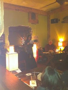 Laura E.J. Moran @ Prose in Pubs  Photo from Amye Archer via Dale Wilsey Jr.'s blog.