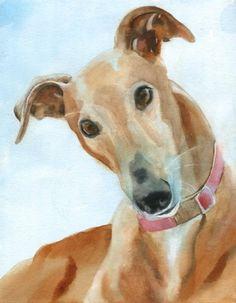 Greyhound dog art Print of my watercolor painting par rachelsstudio