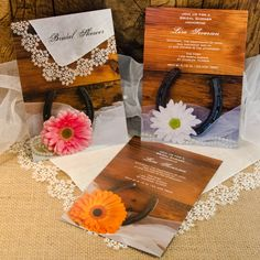 Make a great first impression for your rural country farm, #rustic #barn, ranch or #western bridal #shower theme with the Rustic Country Wedding Collection. Choose from custom shabby chic Bridal Shower Invitations, Thank You Notes, Shower Favors and Personalized Keepsake Gifts featuring cowboy boots, horseshoes, barn wood, sunflowers, daisies and more. #bridalshower #weddingshower