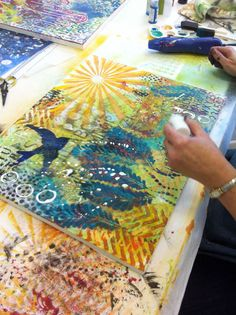 "Stencils...donna downey -- using the Balzer Designs ""Chevron"" and ""Peacock Feathers"" stencils"