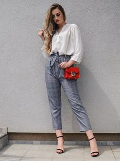 7dcea2e5f4 US $19.98 |ROMWE Tie Waist Glen Plaid Belted Frill Knot Pants Women Spring  Fall Casual Workwear Mid Waist Crop Tapered Carrot Trousers-in Pants &  Capris ...