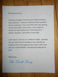Messy room letter from Tooth Fairy -- teaching kids why it's important for them to keep their room tidy!
