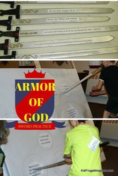 Activity that helps children learn how to use the Bible in life. Armor of God. Used with Bible story of Satan tempting Jesus. Kidfrugal: Sword Practice with the Word of God Bible Lessons For Kids, Bible For Kids, Sunday School Lessons, Sunday School Crafts, Armor Of God Lesson, Bible Activities, Learning Activities, Kids Church, Church Camp