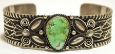 Old Pawn Navajo Carico Lake Turquoise Sterling Silver Cuff Bracelet - Andy Cadman