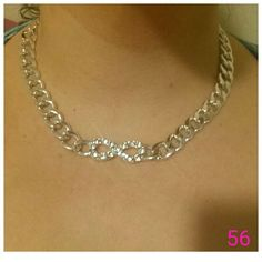 Infinity Silver Tone Chain Linked Necklace! Nwot