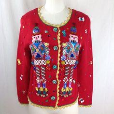 Michael Simon Christmas Sweater Cardigan M Red Nutcracker #MichaelSimon #Cardigan