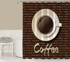 Coffee lover's shower curtain contemporary bathroom by CocosDecor