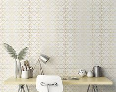 Geometric Solid Gold Wallpaper/ Removable Wallpaper/ Self-adhesive Wallpaper / Pattern Wall Covering - 147