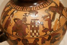 Achilles ambushing Troilos and Polyxena, shoulder of an Attic black-figure hydria.  between circa 560 and circa 550 BC