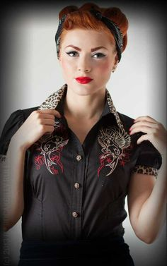 Rumble59 Ladies - Bluse Heaven 'n' Hell - Leo - Swallow Tattoo Bluse / Shirt im Old School Design - Rockabilly-Rules.com