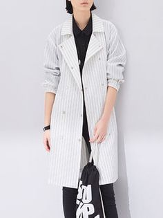Long Sleeve Printed Casual Spandex H-line Trench Coat