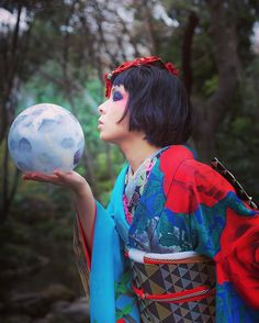 Kiss you tonight 🌕 #japan #kimono #着物 #きもの #キモノ #重宗玉緒 #蕾写真館