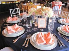 Peach and navy is a fantastic color scheme for a spring or summer wedding, it's contrasting and beautiful! These two colors are ideal also for a beach or just destination wedding as they look beautifully and bright together.