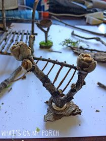 My Porch Prints: How To Make Fairy Furniture Fairy Garden Pots, Fairy Garden Furniture, Fairy Garden Houses, Fairies Garden, Diy Fairy Door, Fairy Doors, Twig Furniture, Fairy Tree Houses, Fairy Garden Accessories