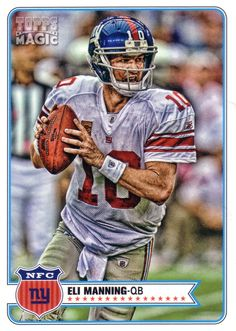 Eli Manning - New York Giants New York Giants Jersey, New York Football, Giants Football, My Giants, Football Season, Football Team, Football Helmets, Football Cards, Baseball Cards
