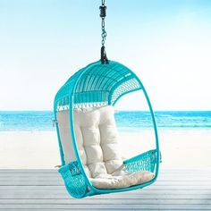 Hippy, happy and fun? Sure thing. But also: Durable and downright practical. After all, this outdoor Turquoise Swingasan Hanging Chair features an airy, open-weave back, side compartments for your … Papasan Chair, Egg Chair, Swivel Chair, Pottery Barn, Turquoise Room, Teal, Turquoise Jewelry, Cheap Decorative Pillows, Hammock Swing