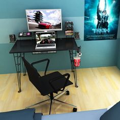 Home Office Furniture: Choosing The Right Computer Desk Gaming Desk Table, Gaming Desk Black, Gaming Computer Desk, Office Table, Gaming Setup, Top Computer, Gaming Chair, Gaming Furniture, Home Office Furniture