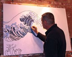 Japanese Wave Drawing | simonsgallery art blog: Painting the Great Wave