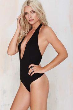 Nasty Gal Low Down Plunging Bodysuit - Black - Bustiers + Bodysuits | Tops