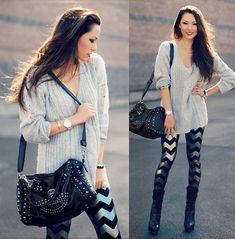 Shredded Cable Knit Sweater, Chevron Leggings, Black Skull Bag