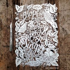 Papercut Template 'Hope is the thing with feathers' Baby PDF JPEG for handcutting & SVG file for Silhouette Cameo or Cricut