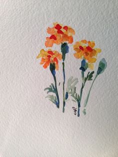 Marigold Watercolor Card Hearty Marigolds, I consider them a great fall flower even though the bloom all summer. I love the bug repellent quality of marigolds. Their smell is so unique. This card is 4.75x6.75 and blank inside. I have used watercolor on this original card. Comes with a matching envelope in a protective sleeve.