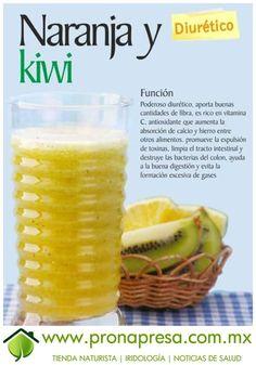 Jugo Natural de Naranja y Kiwi: Diurético. #ConsejosDeSalud #TipsSaludables