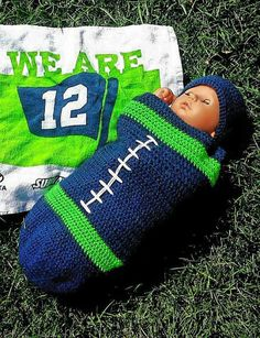 Seahawks Football Swaddler by AtTheLilyPond on Etsy