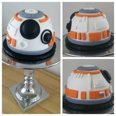 Cake with fondant and a sphere cake pan. - Star Wars Cookie - Ideas of Star Wars Cookie - Cake with fondant and a sphere cake pan. Star Wars Cake Toppers, Star Wars Cookies, Star Wars Birthday Cake, Star Wars Party, Fancy Cakes, Cute Cakes, Fondant Cakes, Cupcake Cakes, Bb8 Cake