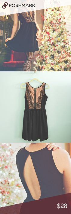 """Modcloth Elegant Romance Black Lace Dress sz Small This romantic dress features a scalloped, lace-embellished rosy nude bodice with a sheer mesh panel down the front. Its full, a-line skirt will swish across your figure and the open keyhole back adds an elegant touch. Worn once for a holiday party. The button loop is broken but can easily be fixed. My measurements- 34"""" bust, 26.5"""" waist, 34"""" hip. Fits slightly large in the bust, but I am very small chested! Modcloth Dresses Mini"""