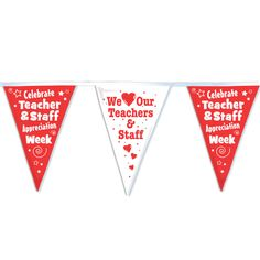 Teachers & Staff 60' Red & White Stringed Pennants | Positive Promotions