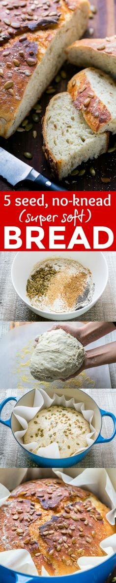 Dutch Oven Bread is surprisingly easy to make! This 5-seed NO-KNEAD dutch oven bread has a soft, spongy crumb and tastes like a loaf from a fancy bakery. | natashaskitchen.com