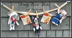 Whimsical banner using Elephant, Boston Terrier & bunny rabbit created from German viscose. BradyBears.com