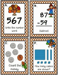 Thanksgiving MathTask Cards Freebie--second grade math center--place value, addition and subtraction with regrouping, expanded form, telling time, counting money, and word problems--FREE math center for 2nd grade