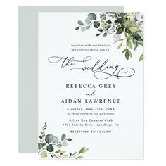Elegant Rustic Eucalyptus Leaves Greenery Wedding Invitation - tap to personalize and get yours #Invitation #greenery #wedding #custom #monogram #back Spanish Wedding Invitations, Rustic Invitations, Elegant Wedding Invitations, Wedding Invitation Templates, Wedding Stationery, Invitation Wording, Birthday Invitations, Invites, Invitation Suite