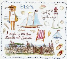 ©Susan Branch  Sea. Beach. Lighthouse. Lobsters. Sunset. sailboat. Flip flops. boat