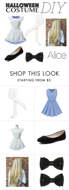 """Alice In Wonderland Halloween Costume DIY"" by theamazingflower ❤ liked on Polyvore featuring Hue, Verali, halloweencostume and DIYHalloween"
