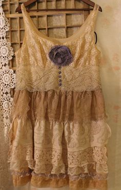Vintage romance...tattered upcycled lace dress