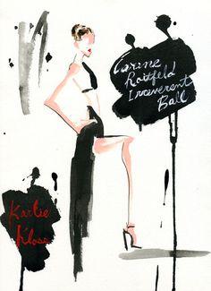 """""""Karlie Kloss at CARINE ROITFELD IRREVERENT BALL"""" カリーヌ・ロワトフェルドのヴァンパイア・ボール!ヴァンパイア(Vampire)やヴァンプ(vamp)に扮したセレブが集合。イラストはセクシーな黒のロングドレ..."""