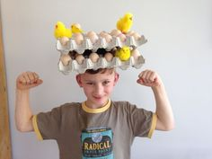 This years Easter bonnet idea for boys! Last Easter bonnet ever (phew! Boys Easter Hat, Easter Bonnets For Boys, Easter Hat Parade, Easter Peeps, Easter Bunny, Crazy Hat Day, Crazy Hats, Easter Craft Activities, Easter Arts And Crafts