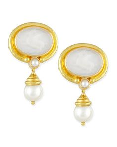 Pegasus Intaglio Clip/Post Earrings with Pearl Drop, White by Elizabeth Locke at Neiman Marcus.