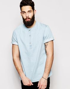 ASOS Collarless Shirt In Short Sleeve With Over The Head Styling http://asos.do/g3KuBb