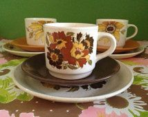 Vintage Johnson of Australia cup, plate and saucer sets in two different patterns