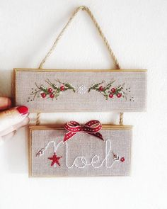 No photo description available. Cross Stitch Christmas Ornaments, Xmas Cross Stitch, Cross Stitch Pillow, Christmas Cross, Cross Stitching, Cross Stitch Embroidery, Christmas Diy, Cross Stitch Designs, Cross Stitch Patterns