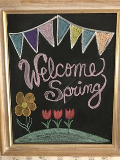 Welcome spring chalkboard art
